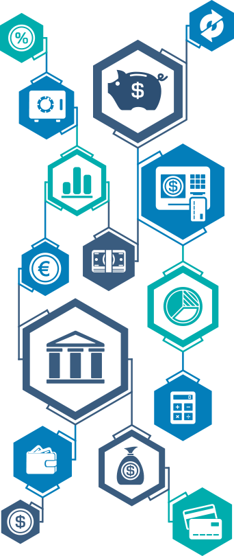 banking-related icons in shades of blue and teal